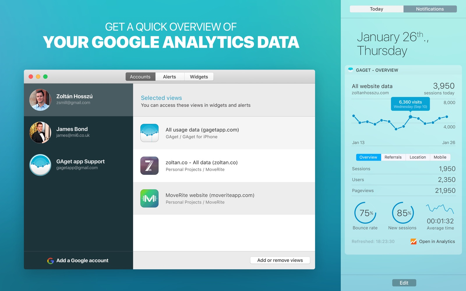 Get a quick overview of your Google Analytics data with GAget